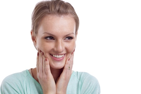 Closeup of happy young woman smiling and side looking Stock Photo - 16800898