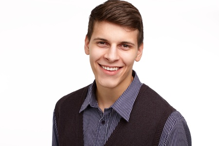 Young business man smiling isolated on white background