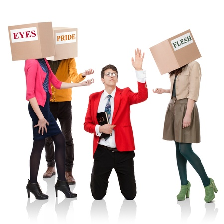 flesh: Three people with boxes in the head that call a young man with a Bible.   Concept of the call of temptations.