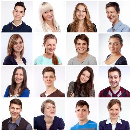 visage: Portraits d'hommes et de femmes souriant et riant