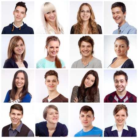 Portraits of men and women smiling and laughing photo