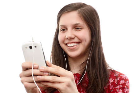 lady on phone: Young lady searching something on a smart phone Stock Photo