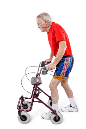Sick old man walking with a walker photo