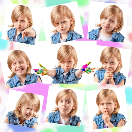 Collage of different portraits of the same cute girl