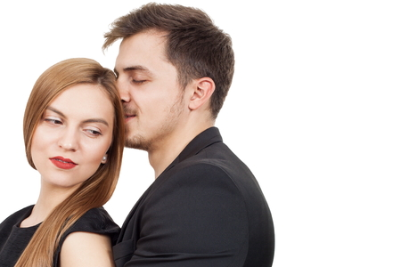 Pair of young lovers enjoying a moment of love photo