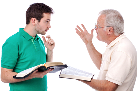 Old man sharing God's Words with a young man 스톡 콘텐츠