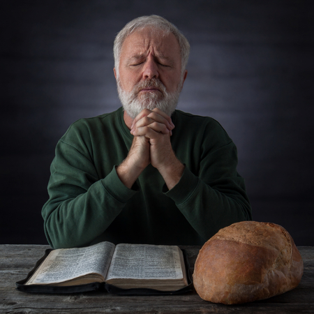 Gratitude and thanksgiving prayer for the bread of life and the daily bread. Mat.4.4 It is written, Man shall not live by bread alone, but by every word that proceedeth out of the mouth of God. photo