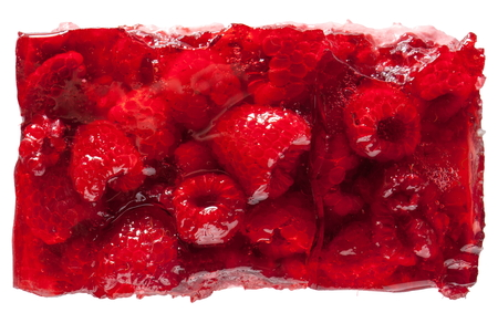 trozo de pastel: Torta de la frambuesa roja jalea visto desde la parte superior