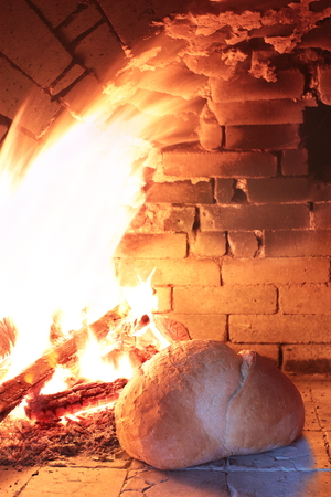 Fire wood burning in an old oven for cooking bread