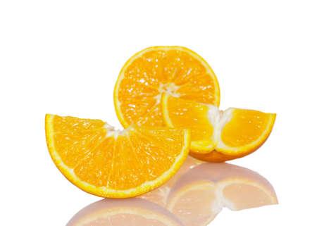 Ripe fresh orange isolated on white background Stock Photo