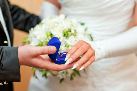 Shot of newly married couple - wedding details