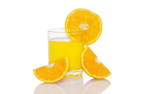 Fresh orange juice with orange slices isolated on white background