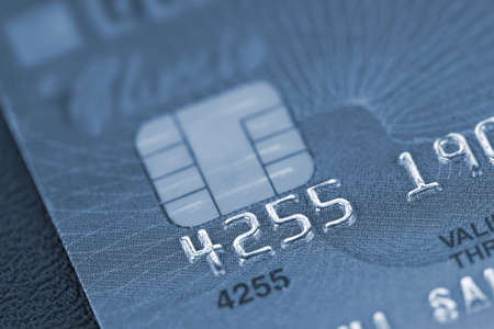 Macro of credit card in blue style