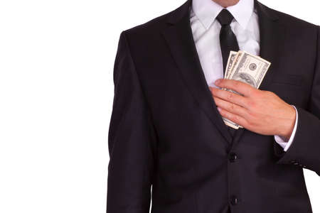 Businessman hiding money isolated on white background photo