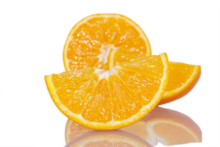 Ripe fresh oranges isolated on white background Stock Photo