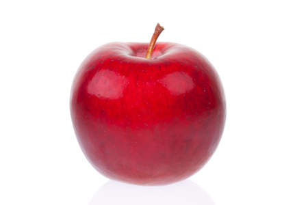 Closeup of red apple isolated on white background