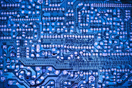 closeup of the blue electronic circuit board Stock Photo - 15285587