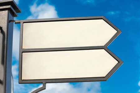 pedestrian pathway panel on the blue sky