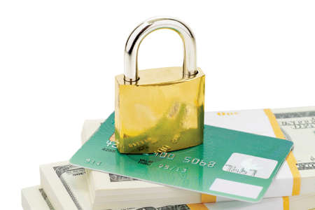Lock, credit card and heap of dollars isolated