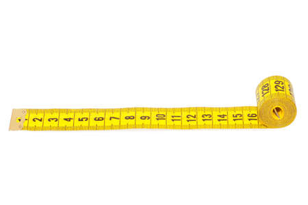 Measuring tape of the tailor isolated on white background Stock Photo