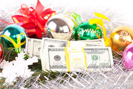 Dollars on christmas decoration background photo