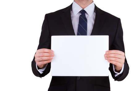 Portrait of business man holding blank note card isolated