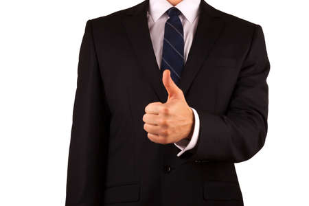 Businessman with thumb up gesture isolated on white Stock Photo