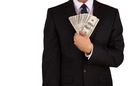 Businessman's hands holding money isaolated on white background photo
