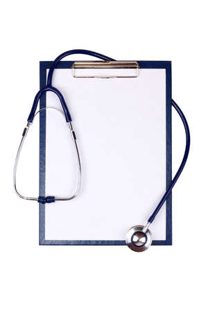 Medical clipboard and stethoscope isolated on white background Stock Photo - 17096715