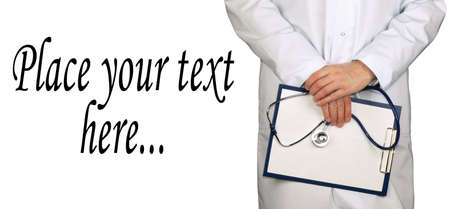 Doctor holding clipboard with blank sheet of paper isolated over white background Stock Photo