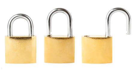 Three security padlocks isolated on white background Stock Photo - 17170309