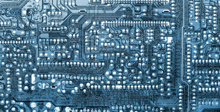 closeup of the blue electronic circuit board Stock Photo