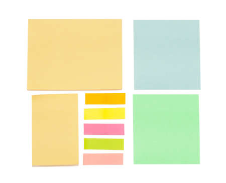 empty color sticky notes isolated on white background