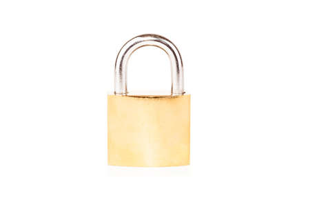 Gold metal padlock on white background isolated Stock Photo
