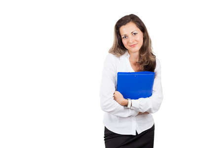 Smiling modern business woman holding folders with documents isolated on white Stock Photo