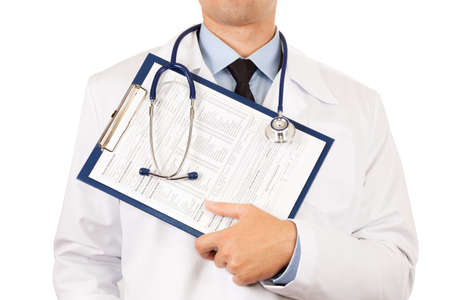 Doctor holding clipboard with medical form isolated over white background