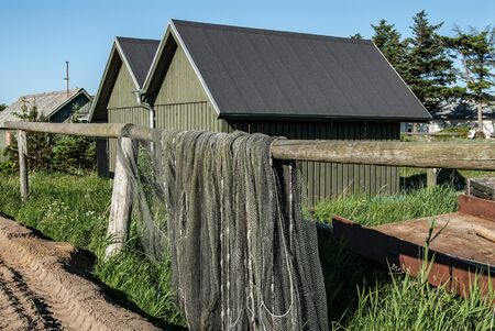 barracks: Fishing barracks in Denmark at the Ringkoebing Fjord