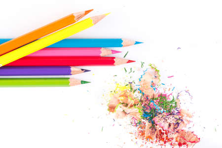 color paint: Crayons. Wooden color pencils. Stock Photo