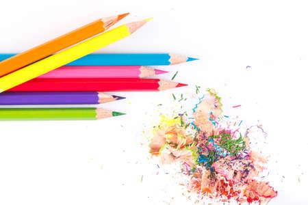 sacapuntas: Lápices de colores. Lápices de colores de madera. Foto de archivo
