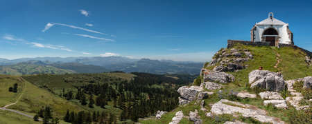 Hermitage of Las Nieves, belonging to the Cantabrian town of Guriezo, Spain. Located on a hill, it offers spectacular panoramic views
