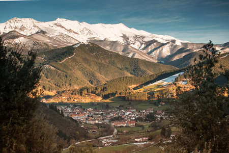 Panoramic aerial view of the city of Potes, in the Picos de Europa, Cantabria, Spain.