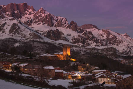 Panoramic night view of the Cantabrian town of Mogrovejo, in the municipality of Camaleño and close to Potes. Cantabria.