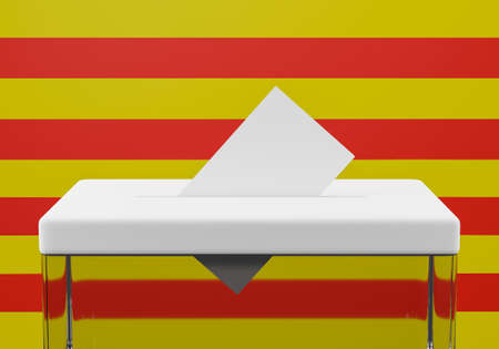 Ballot box with a voting envelope in the slot ready to vote. Catalonia flag in the background.3d Illustration Foto de archivo