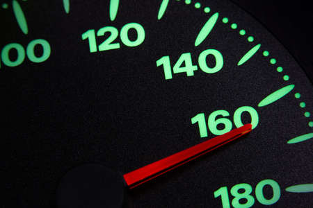 speedometer of a car at 160 km / h very close view Foto de archivo