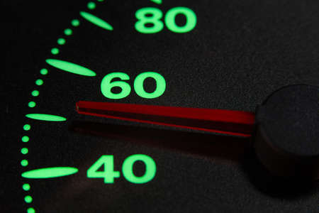 speedometer of a car at 50 km / h very close view Foto de archivo