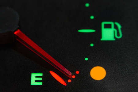 fuel level indicator in reserve, without fuel. Fuel empty.