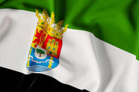 Extremadura official flag.3D render illustration Foto de archivo
