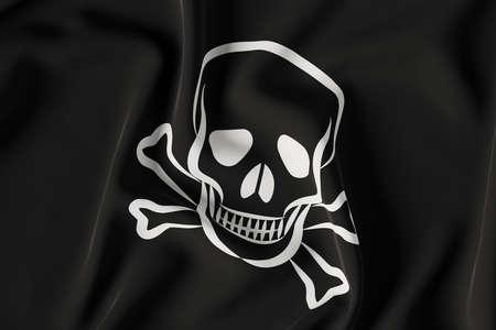 Pirate flag in black color close up view. 3D render illustration Foto de archivo