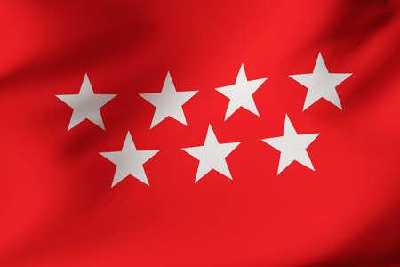 Madrid official flag. 3D illustration