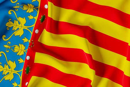 Valencian comunnity official flag.3D render illustration Foto de archivo